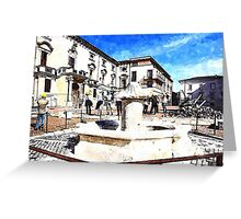 L'Aquila: building and fountain Greeting Card