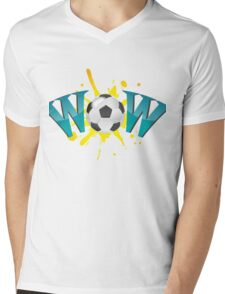 Wow with soccer ball Mens V-Neck T-Shirt