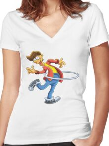Cartoon boy playing with ring Women's Fitted V-Neck T-Shirt