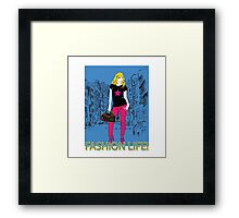 Girl fashion graphic drawing on city background Framed Print