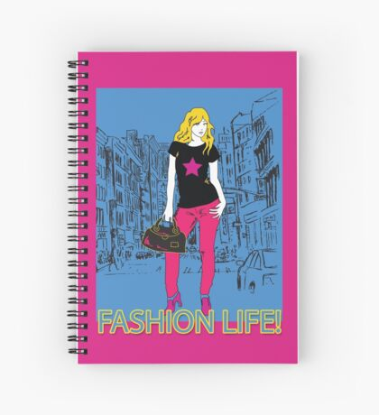 Girl fashion graphic drawing on city background Spiral Notebook