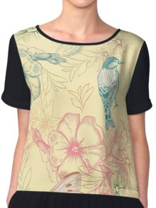 Flowers and animals Chiffon Top