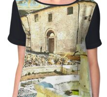 L'Aquila: collapsed church and fountain Chiffon Top