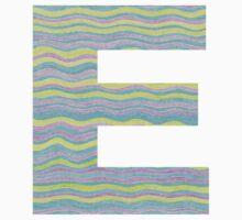 Letter E Neon Wavy Stripe Pattern Monogram Initial One Piece - Long Sleeve