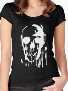 Splatter Skull (white) Women's Fitted Scoop T-Shirt