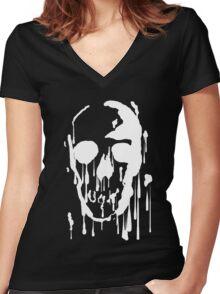 Splatter Skull (white) Women's Fitted V-Neck T-Shirt