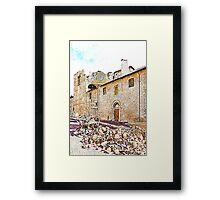 L'Aquila: collapsed church and rubble Framed Print