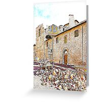 L'Aquila: collapsed church and rubble Greeting Card