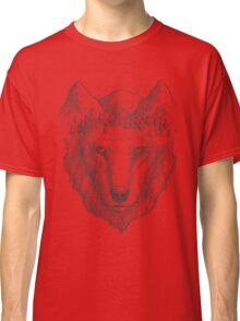 Beautiful hand wolf and wood Classic T-Shirt