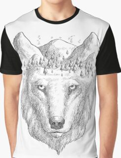 Beautiful hand wolf and wood Graphic T-Shirt