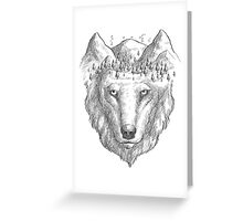 Beautiful hand wolf and wood Greeting Card