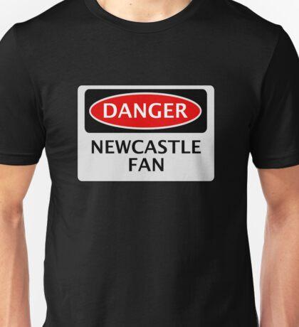 DANGER NEWCASTLE UNITED, NEWCASTLE FAN, FOOTBALL FUNNY FAKE SAFETY SIGN Unisex T-Shirt