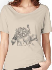 Cute raccoon with flowers and butterfly Women's Relaxed Fit T-Shirt