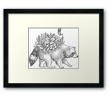 Cute raccoon with flowers and butterfly Framed Print