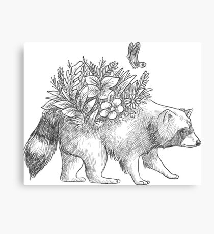 Cute raccoon with flowers and butterfly Canvas Print