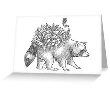 Cute raccoon with flowers and butterfly Greeting Card