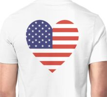 American Flag, USA, Heart, Stars & Stripes, Pure & Simple, Americana, America Unisex T-Shirt