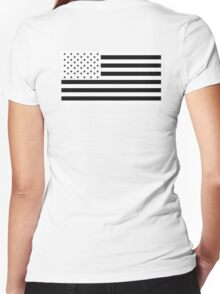 American Flag, NEGATIVE on white, America, Americana, Stars & Stripes, Pure & Simple, USA Women's Fitted V-Neck T-Shirt