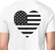 American Flag, BLACK Heart, Stars & Stripes, Pure & Simple, America, USA Unisex T-Shirt