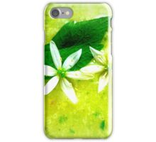 Asparagus and basil soup with wild garlic flowers iPhone Case/Skin