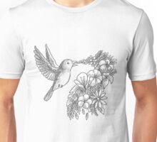 Lovely bird with flowers Unisex T-Shirt