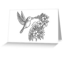 Lovely bird with flowers Greeting Card