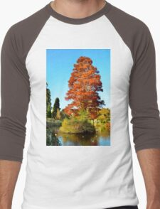 Tree and Lake Men's Baseball ¾ T-Shirt
