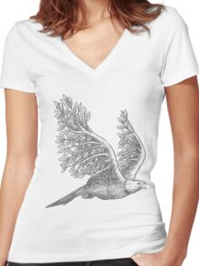 Majestic eagle with branches Women's Fitted V-Neck T-Shirt