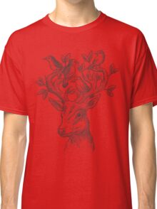 Deer with birds & leaves Classic T-Shirt