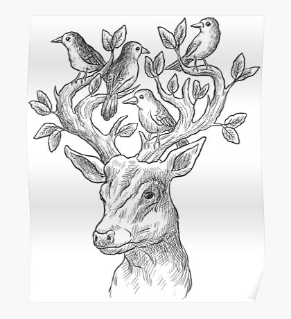 Deer with birds & leaves Poster