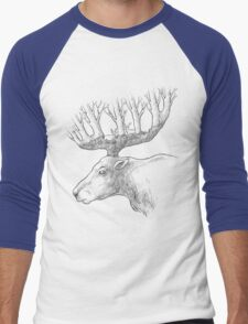 Deer with trees in the horns Men's Baseball ¾ T-Shirt