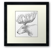 Deer with trees in the horns Framed Print