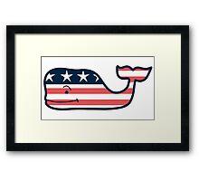 Vineyard Vines American Flag Whale Framed Print