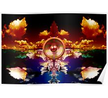Music speaker on a cloud background Poster