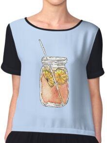 Mason Jar Summer Sun Ice Tea in Watercolor Chiffon Top