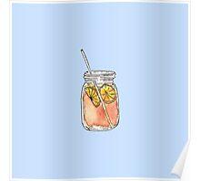 Mason Jar Summer Sun Ice Tea in Watercolor Poster