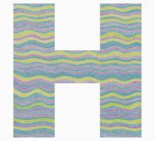 Letter H Neon Wavy Stripe Pattern Monogram Initial One Piece - Short Sleeve