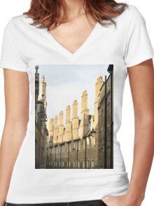 Tudor Buildings, The Backs, Cambridge, England Women's Fitted V-Neck T-Shirt