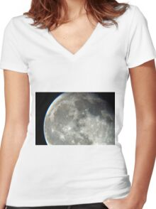 moonscape Women's Fitted V-Neck T-Shirt