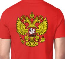 RUSSIA, RUSSIAN, Coat of Arms of the Russian Federation, ON red Unisex T-Shirt