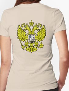 RUSSIA, RUSSIAN, Coat of Arms of the Russian Federation, ON red Womens Fitted T-Shirt