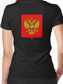 RUSSIA, RUSSIAN, SHIELD, Coat of Arms of the Russian Federation Women's Fitted V-Neck T-Shirt