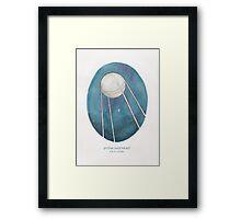 Haruki Murakami's Sputnik Sweetheart // Illustration of the Sputnik Satellite in Space in Pencil & Watercolour Framed Print