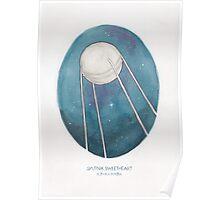 Haruki Murakami's Sputnik Sweetheart // Illustration of the Sputnik Satellite in Space in Pencil & Watercolour Poster