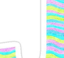 Letter J Neon Wavy Stripe Pattern Monogram Initial Sticker
