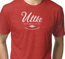 Old Uttke Photography Logo White Tri-blend T-Shirt