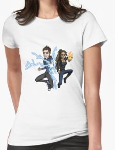 Superhero Characters Electric Boy & Pyro Girl Womens Fitted T-Shirt