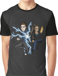 Superhero Characters Electric Boy & Pyro Girl Graphic T-Shirt