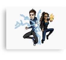 Superhero Characters Electric Boy & Pyro Girl Canvas Print