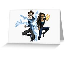 Superhero Characters Electric Boy & Pyro Girl Greeting Card
